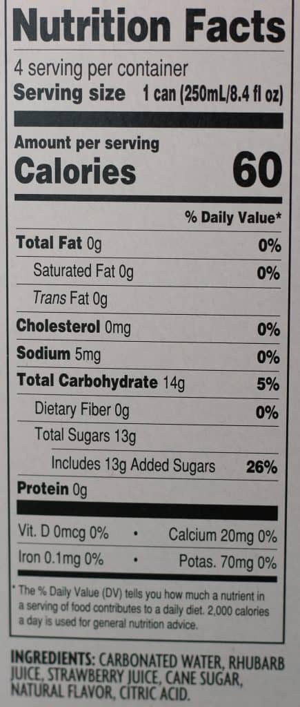 Trader Joe's Rhubarb and Strawberry Soda nutritional information