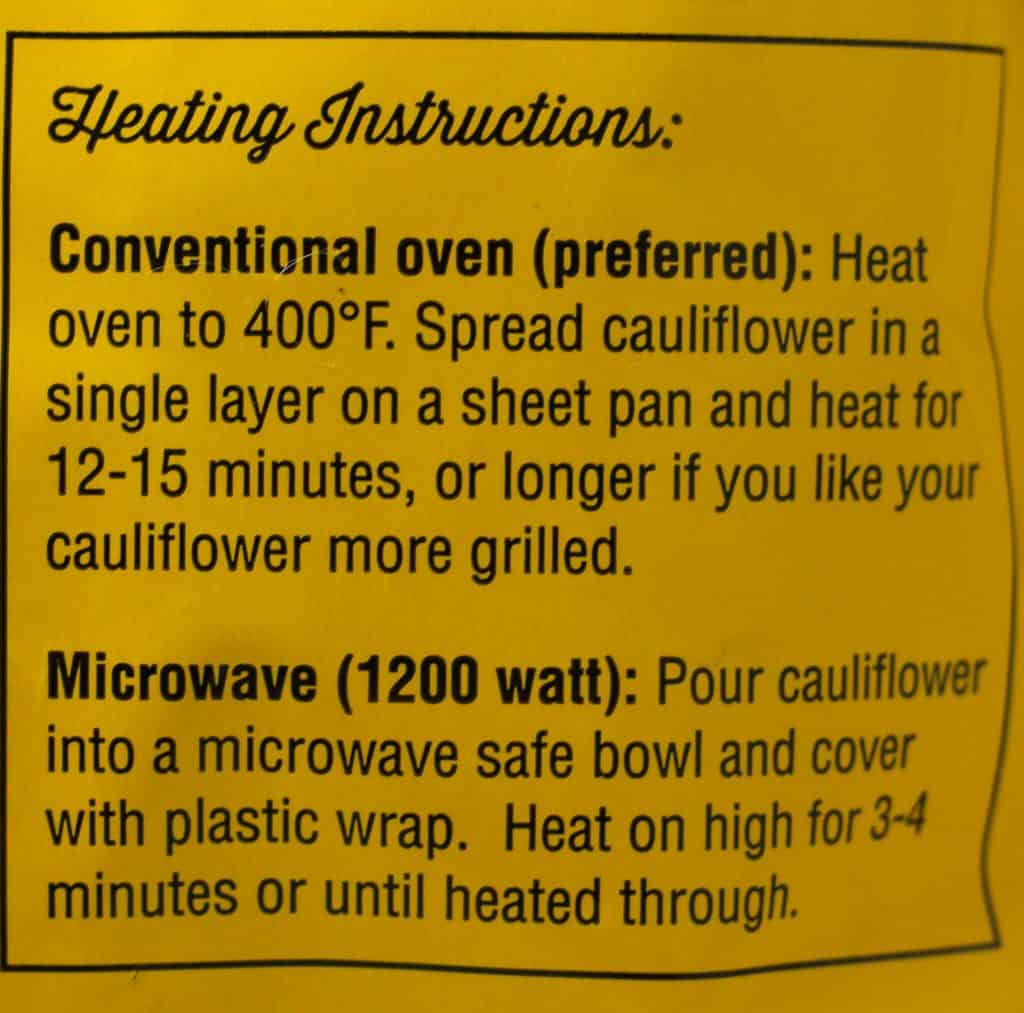 Trader Joe's Grilled Cauliflower how to prepare directions