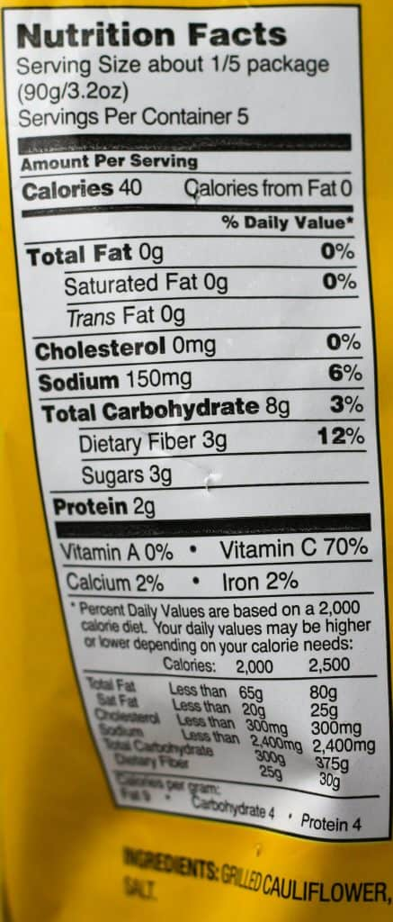 Trader Joe's Grilled Cauliflower nutritional information and the ingredients