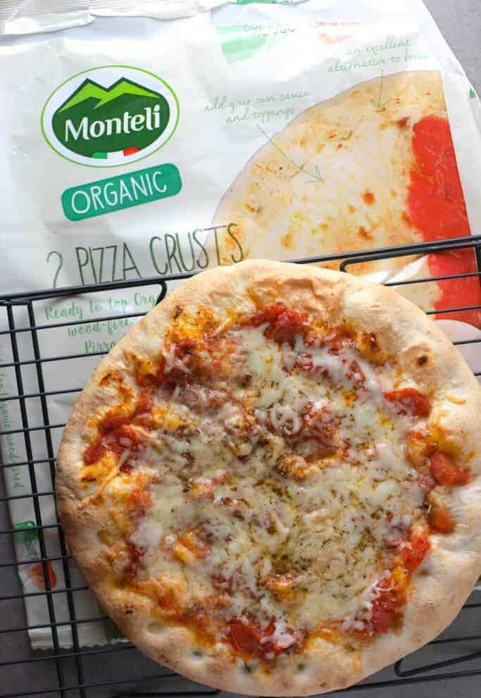 Monteli Organic Pizza Crusts finished with bag in the background