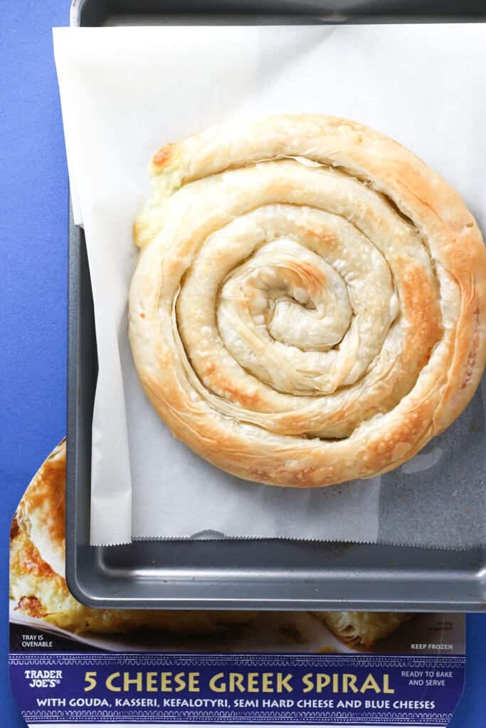 Trader Joe's 5 Cheese Greek Spiral baked on a cookie sheet