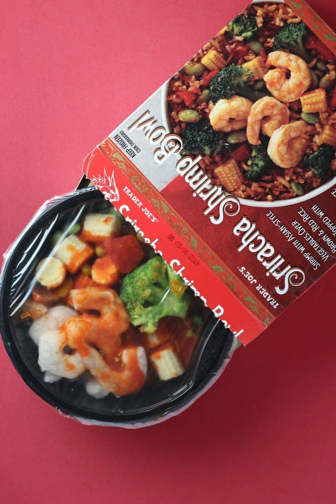 Trader Joe's Sriracha Shrimp Bowl out of the package and before being microwaved.
