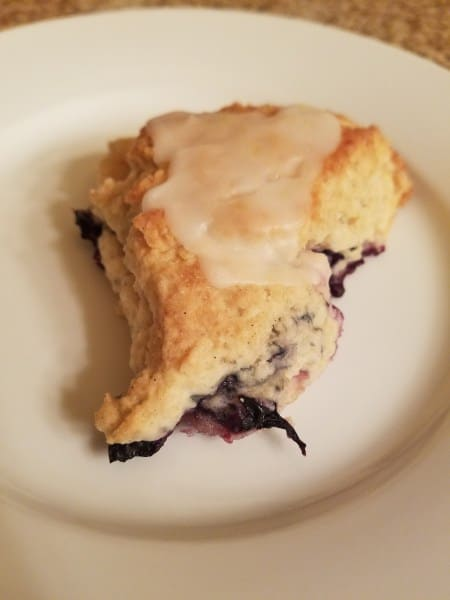 Blueberry Scone with Lemon Glaze
