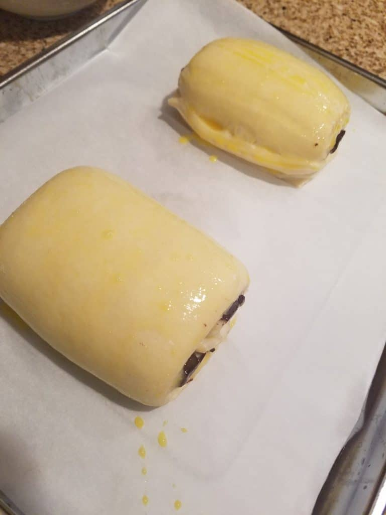 Trader Joe's Chocolate Croissants brushed with egg wash