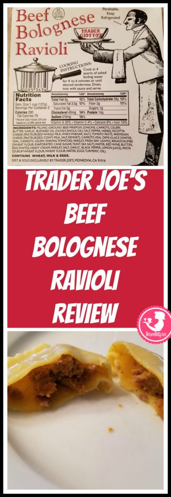 Trader Joe's Beef Bolognese Ravioli review. Want to know if this is something worth putting on your shopping list from Trader Joe's? All pins link to BecomeBetty.com where you can find reviews, pictures, thoughts, calorie counts, nutritional information, how to prepare, allergy information, price, and how to prepare each product.