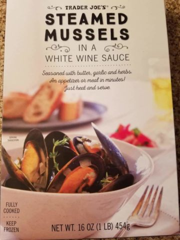 An unopened box of Trader Joes Steamed Mussels