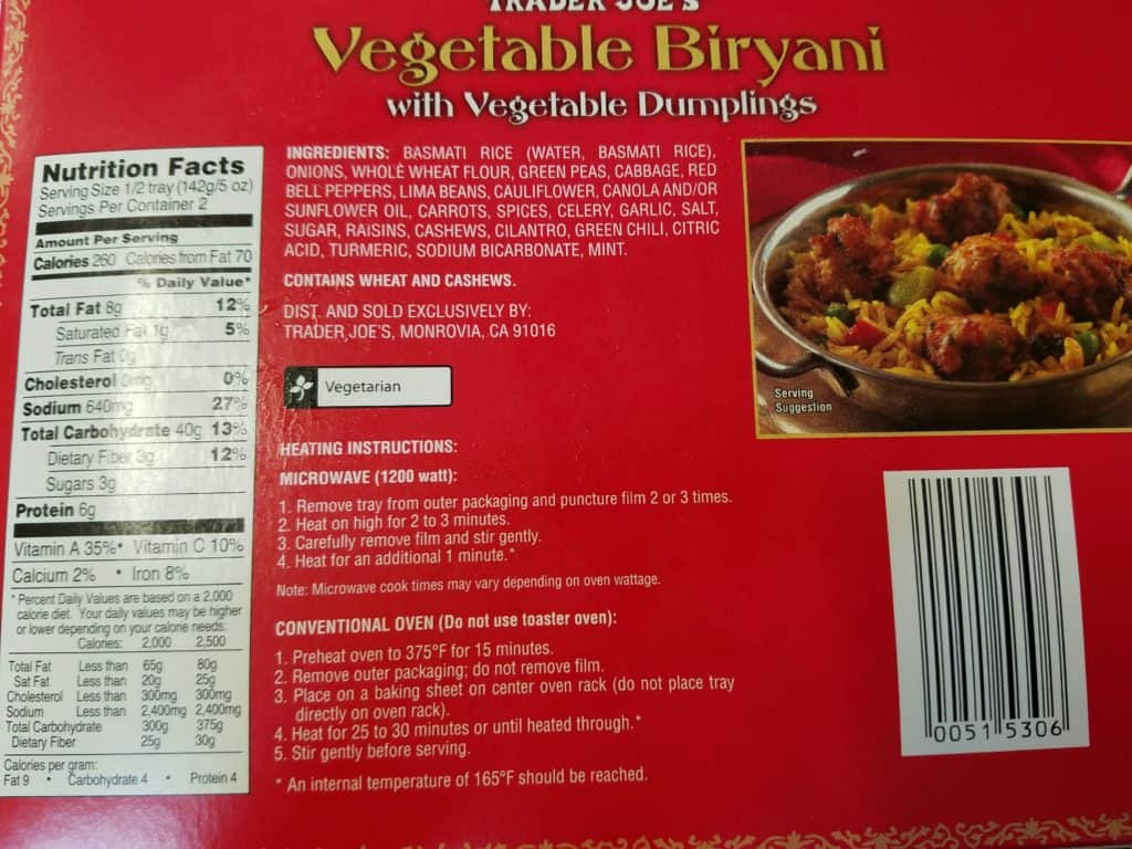 Trader Joe's Vegetable Biryani