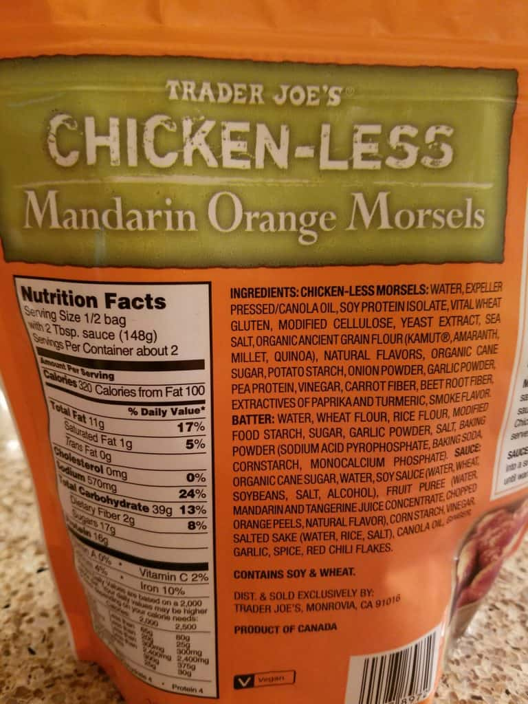 Trader Joe's Vegan Chicken-less Mandarin Orange Morsels