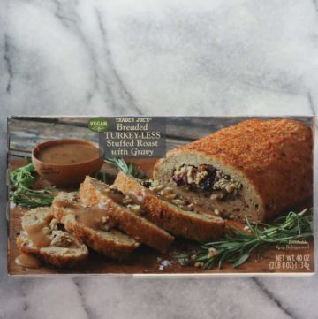 An unopened box of Trader Joe's Breaded Turkey-less Stuffed Roast with Gravy