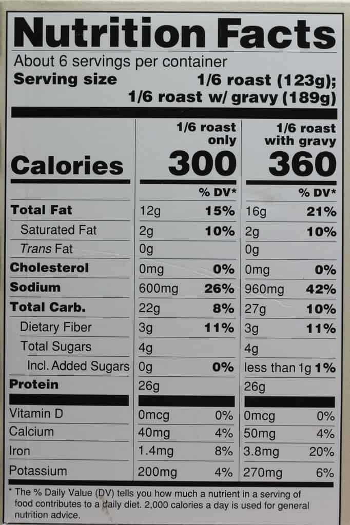 Calories and nutritional information in Trader Joe's Breaded Turkey-less Stuffed Roast with Gravy