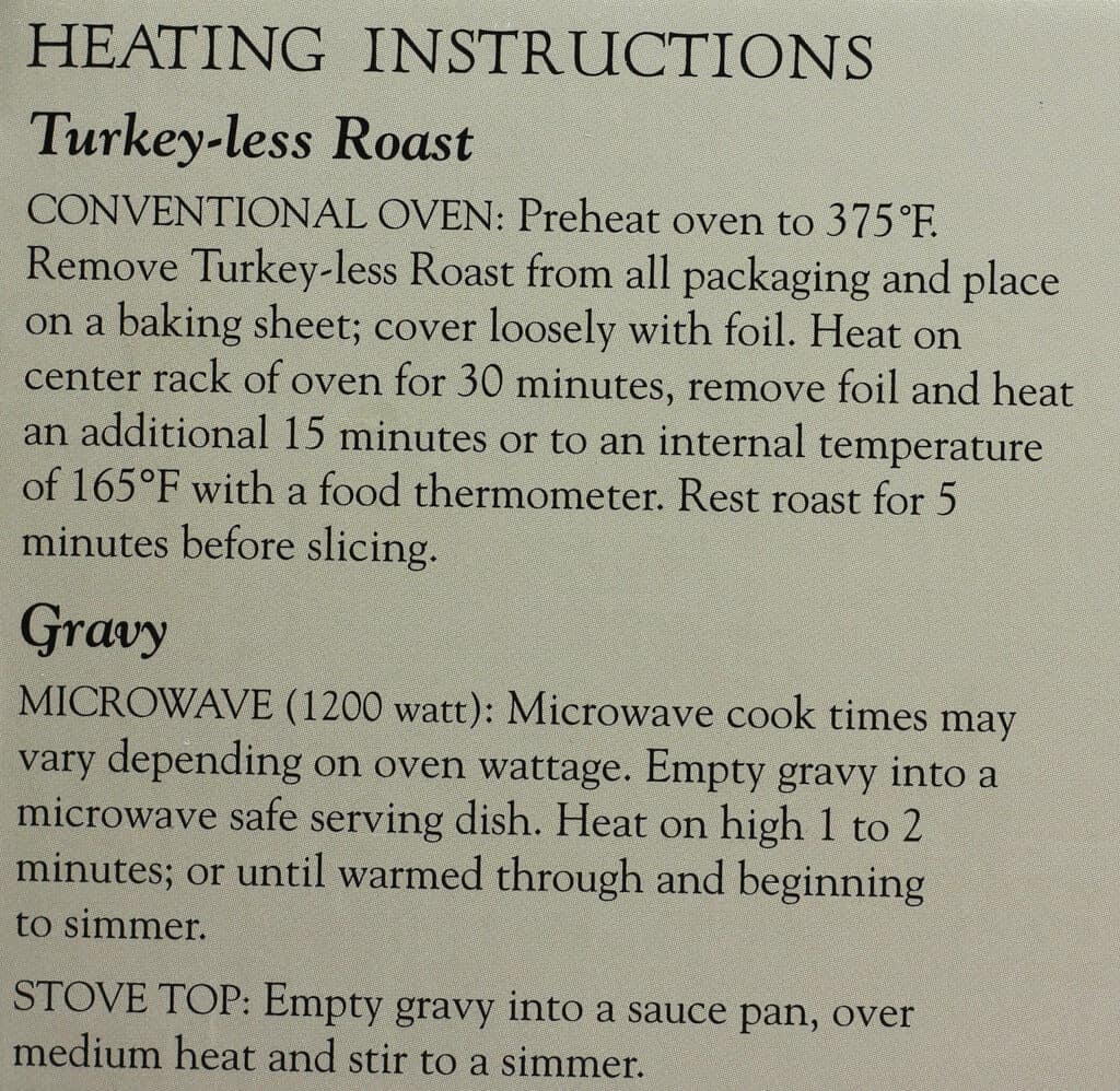 Heating instructions for Trader Joe's Breaded Turkey-less Stuffed Roast with Gravy