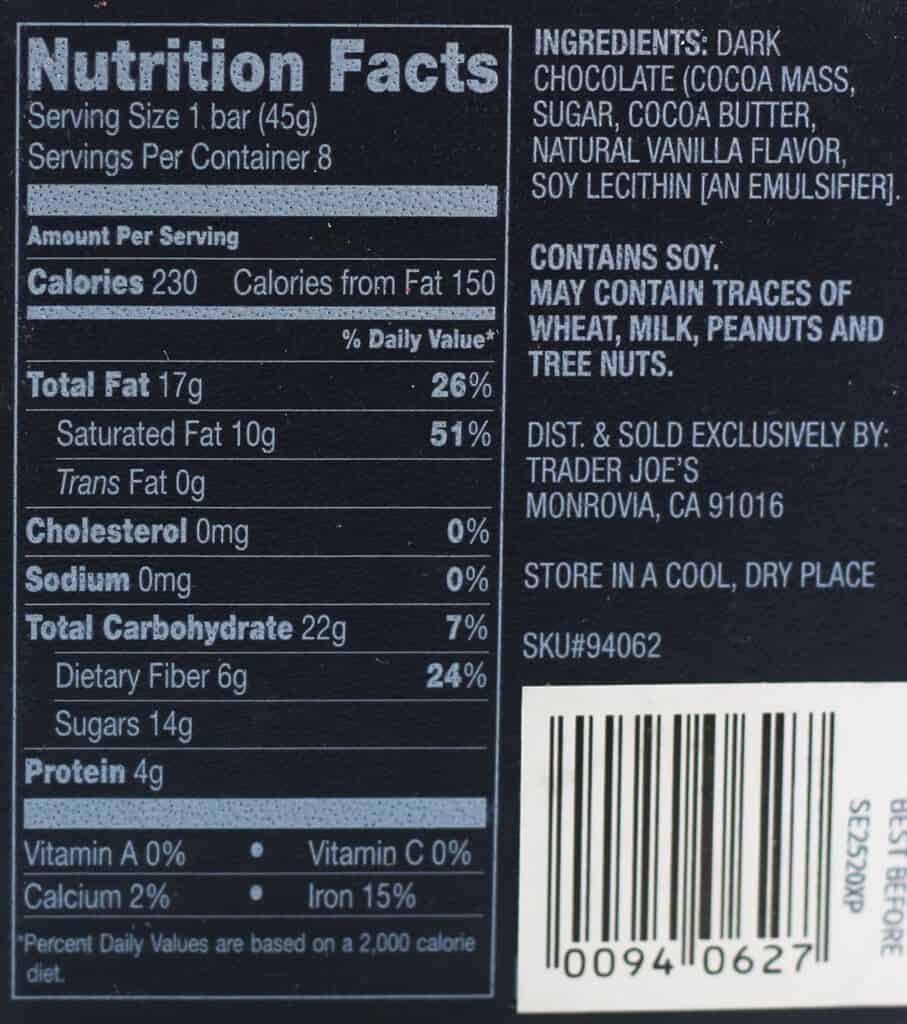Nutritional information, calories, ingredients and allergy information for Trader Joe's Chocolate Passport