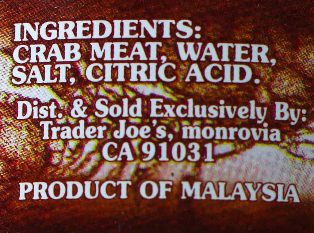 Trader Joe's Crab Meat ingredients