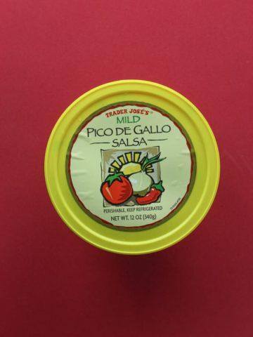 An unopened package of Trader Joe's Mild Pico De Gallo Salsa