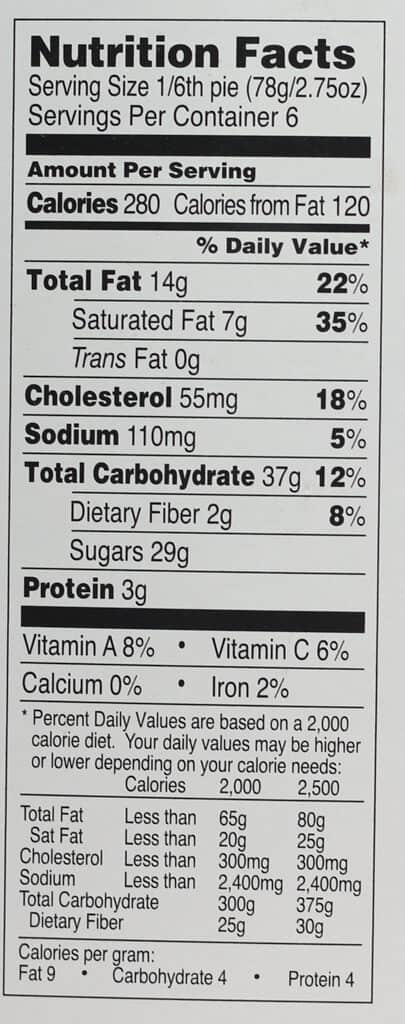 Nutritional information for Trader Joe's Nantucket Style Cranberry Pie