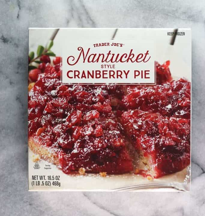 An unopened box of Trader Joe's Nantucket Style Cranberry Pie