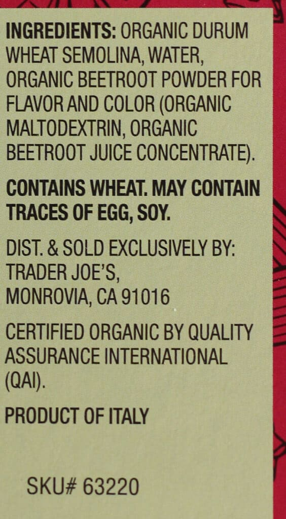 Ingredients in Trader Joe's Organic Italian Striped Garganelli