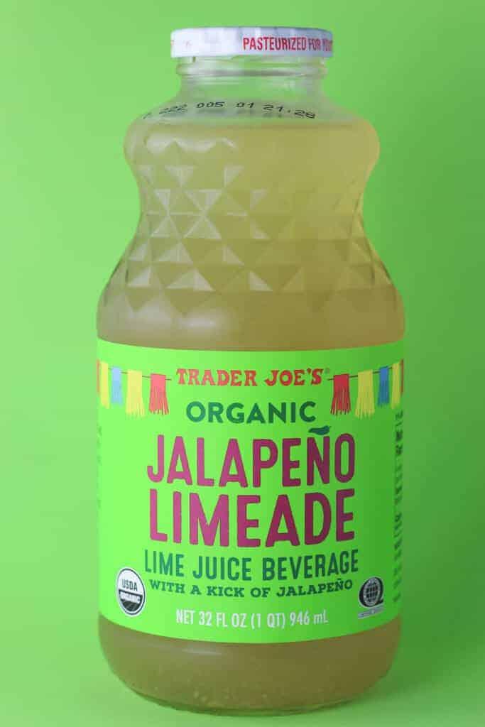 Trader Joe's Organic Jalapeno Limeade on a green surface