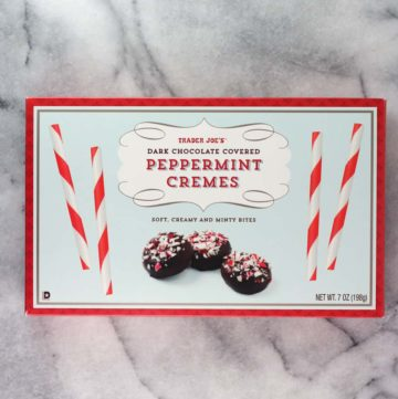 An unopened box of Trader Joe's Peppermint Cremes
