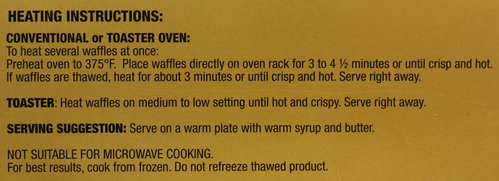 Heating directions for Trader Joe's Pumpkin Waffles