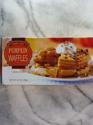 An unopened box of Trader Joe's Pumpkin Waffles