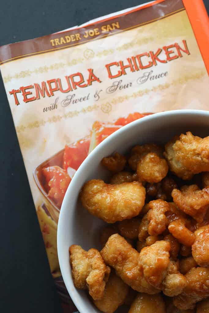 Trader Joe's Tempura Chicken with Sweet and Sour Sauce fully prepared
