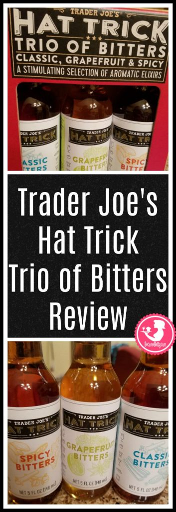 Trader Joe's Hat Trick Trio of Bitters review. Want to know if this is something worth putting on your shopping list from Trader Joe's? All pins link to BecomeBetty.com where you can find reviews, pictures, thoughts, calorie counts, nutritional information, how to prepare, allergy information, price, and how to prepare each product.