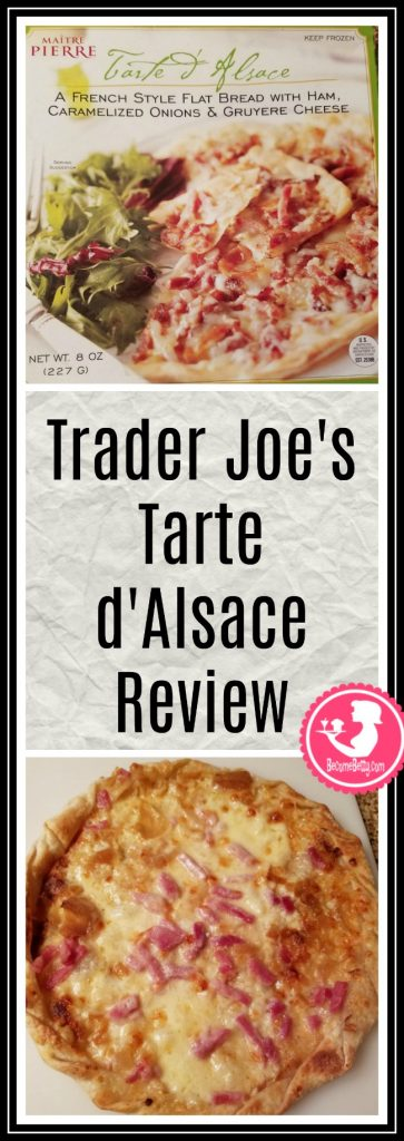 Trader Joe's Tarte d'Alsace or tart with ham and cheese review. Want to know if this is something worth putting on your shopping list from Trader Joe's? All pins link to BecomeBetty.com where you can find reviews, pictures, thoughts, calorie counts, nutritional information, how to prepare, allergy information, price, and how to prepare each product.