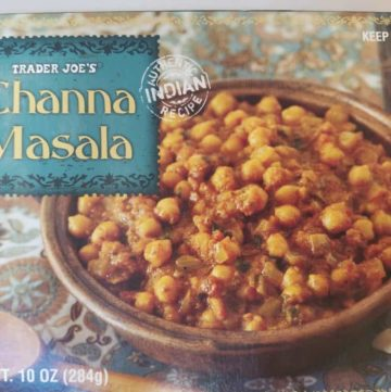 An unopened box of Trader Joes Channa Masala