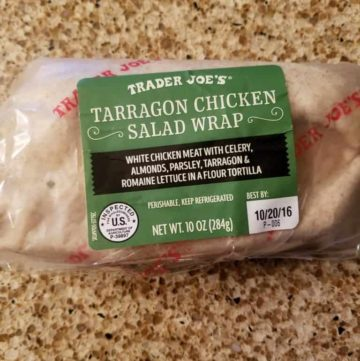 An unopened package of Trader Joe's Tarragon Chicken Salad Wrap