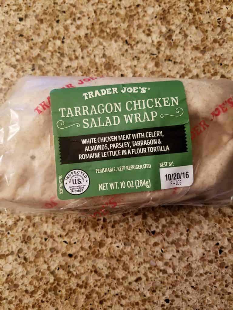 An unopened package of Trader Joe's Tarragon Chicken Salad Wrap