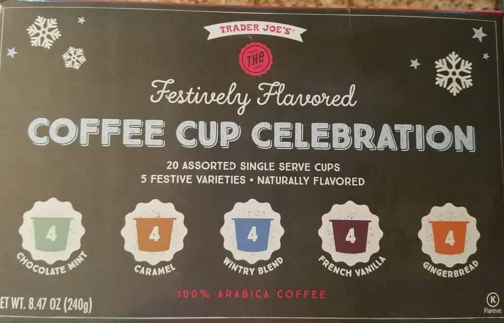 An unopened box of Trader Joe's Festively Flavored Coffee Cup Celebration