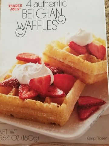 An unopened box of Trader Joe's Belgian Waffles