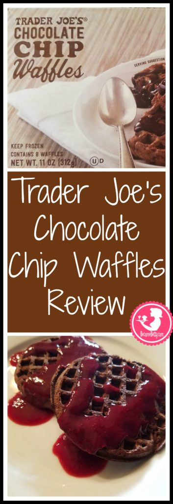 Trader Joe's Chocolate Chip Waffles are frozen and a seasonal treat. My review follows. Want to know if this is something worth putting on your shopping list from Trader Joe's? All pins link to BecomeBetty.com where you can find reviews, pictures, thoughts, calorie counts, nutritional information, how to prepare, allergy information, price, and how to prepare each product.