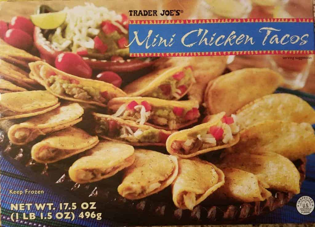 An unopened box of Trader Joe's Mini Chicken Tacos