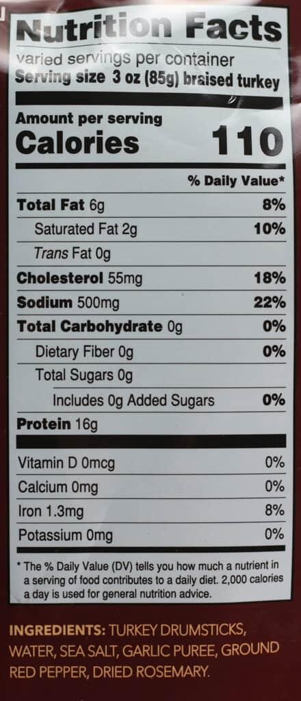 Nutritional information and ingredients in Trader Joe's Braised Turkey Drumsticks