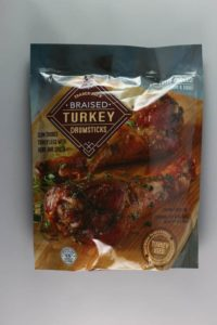 An unopened bag of Trader Joe's Braised Turkey Drumsticks