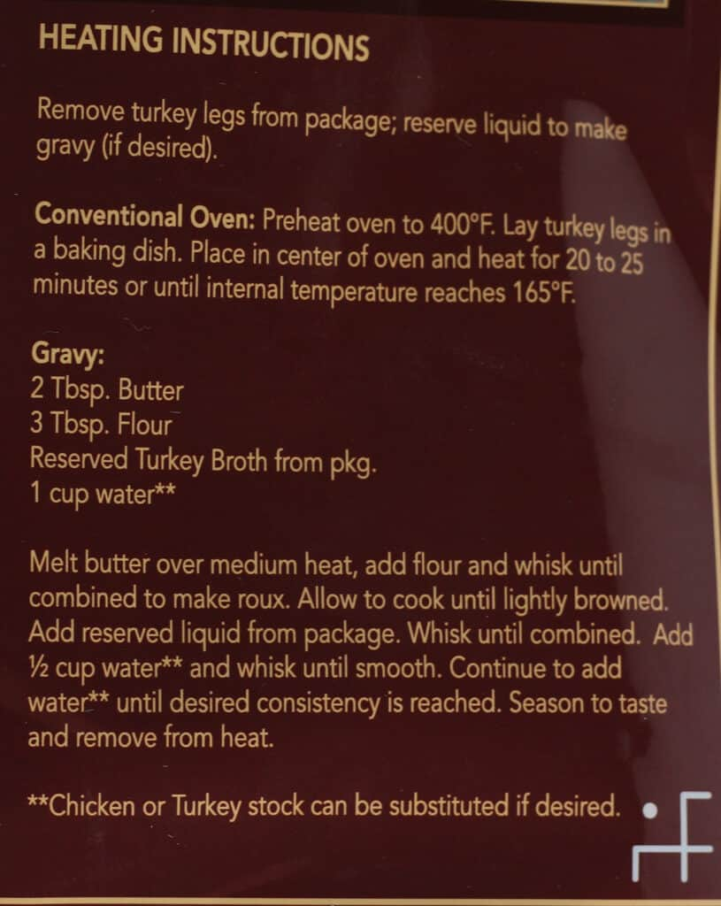 Directions and gravy instruction found on Trader Joe's Braised Turkey Drumsticks bag