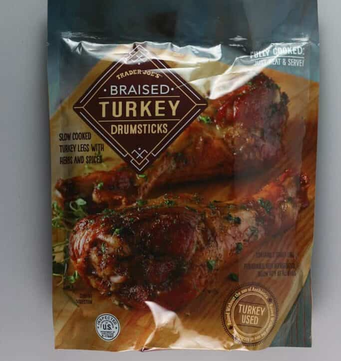 An unopened bag of Trader Joe's Braised Turkey Drumsticks