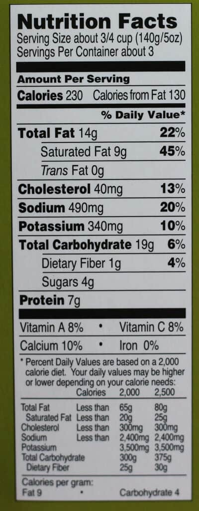 Nutritional information for Trader Joe's Scalloped Potatoes with Quattro Formaggio
