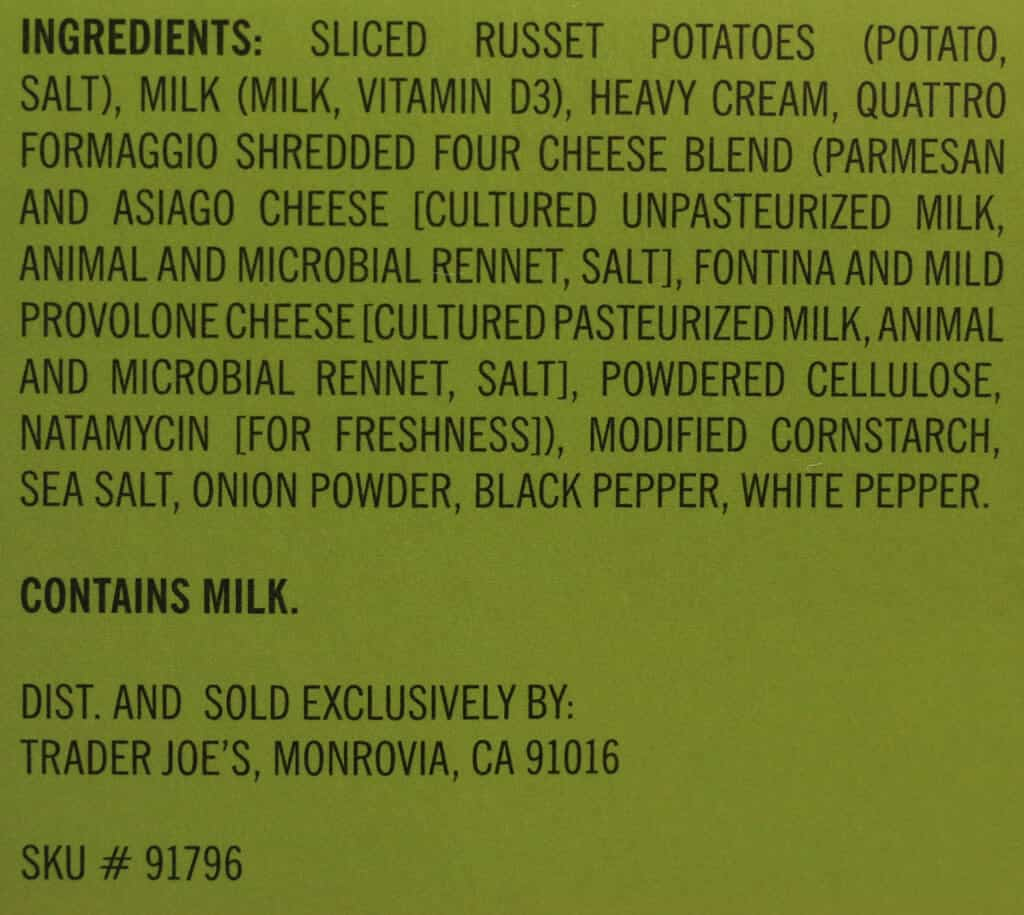 Ingredient list for Trader Joe's Scalloped Potatoes with Quattro Formaggio