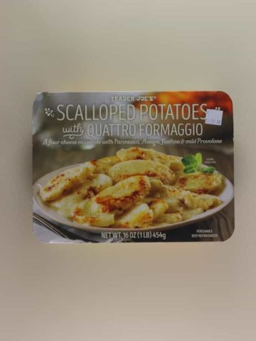 An unopened package of Trader Joe's Scalloped Potatoes with Quattro Formaggio