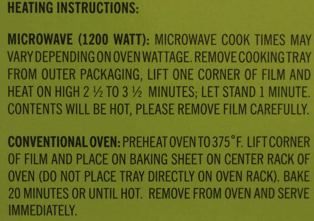 Heating instructions for Trader Joe's Scalloped Potatoes with Quattro Formaggio