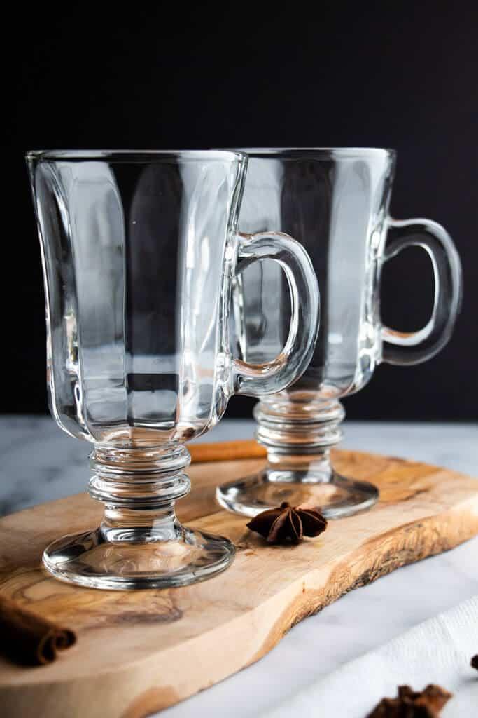 Two empty Irish Coffee glasses