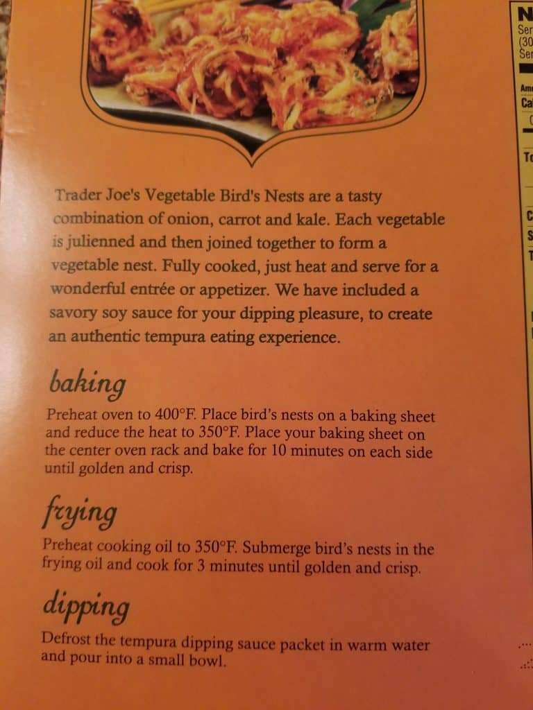 Trader Joe's Vegetable Birds Nests