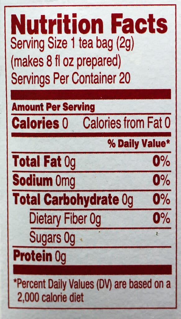 Trader Joe's Harvest Blend Herbal Tea nutrition information