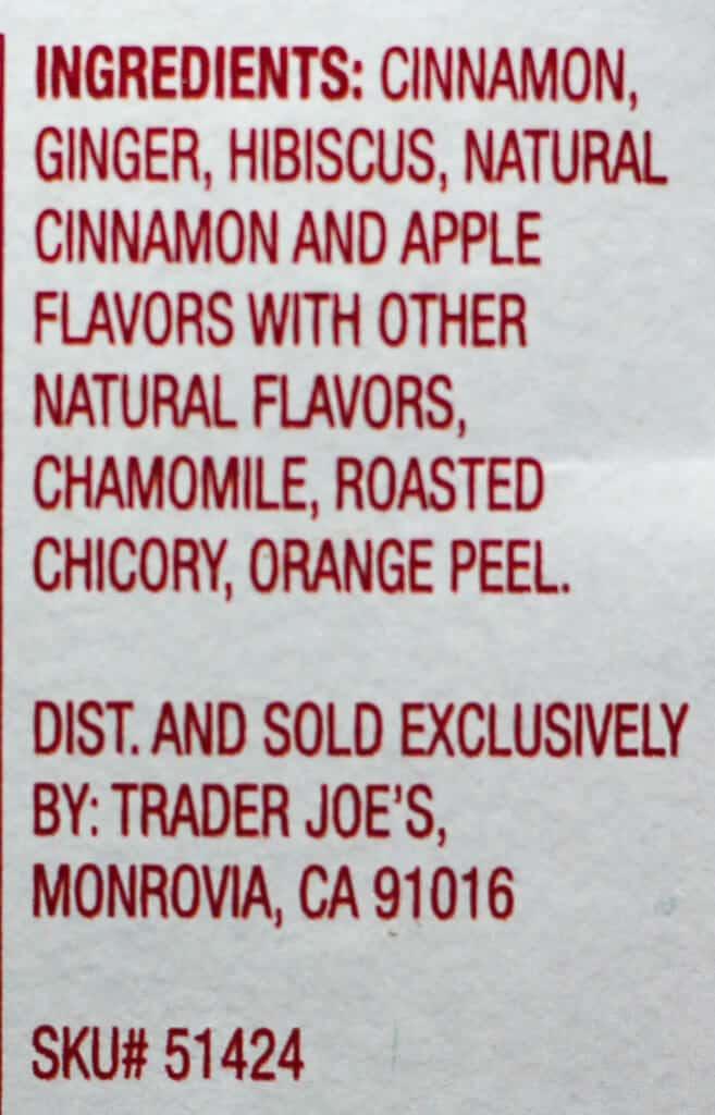 Trader Joe's Harvest Blend Herbal Tea ingredients