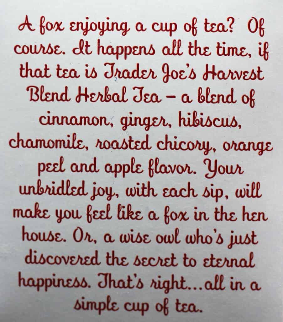 Trader Joe's Harvest Blend Herbal Tea description