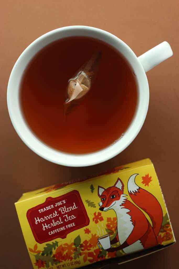 Trader Joe's Harvest Blend Herbal Tea fully brewed