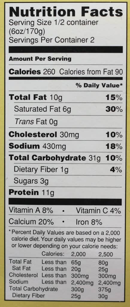 Trader Joe's Hatch Chile Mac and Cheese nutritional information